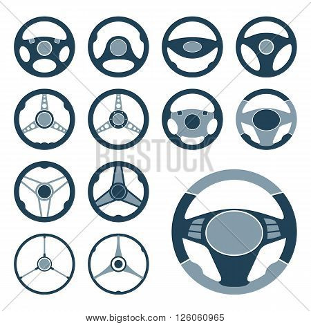 Set of car steering wheel vector icons. Automobile steering wheel icons in flat style. EPS8 vector.