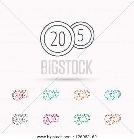 Coins icon. Cash money sign. Bank finance symbol. Twenty and five cents. Linear icons on white background.