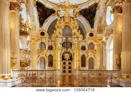 SAINT PETERSBURG RUSSIA - APRIL 07 2016: Interior of the State Hermitage the Grand Church of the Winter Palace. Hermitage is one of the largest and oldest museums of art and culture in the world