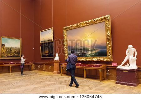 SAINT PETERSBURG, RUSSIA - APRIL 11, 2016: Room with paintings Aivazovsky in State Russian Museum. Museum is largest depository of Russian fine art in St. Petersburg