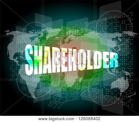 Shareholding, Internet Marketing, Business Digital Touch Screen Interface