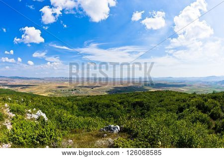 Panorama of Pešter plateau landscape in southwest Serbia