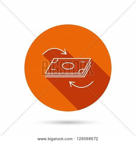 Money flow icon. Cash investment sign. Currency exchange symbol. Round orange web button with shadow.