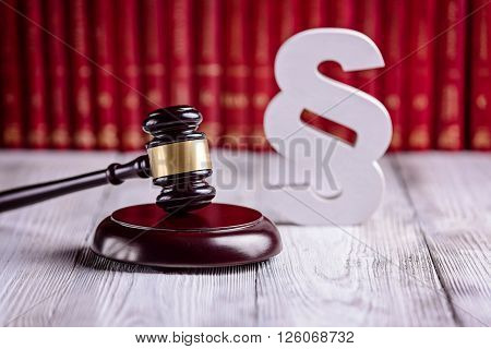 Gavel And Wooden Paragraph The Symbols Of Law