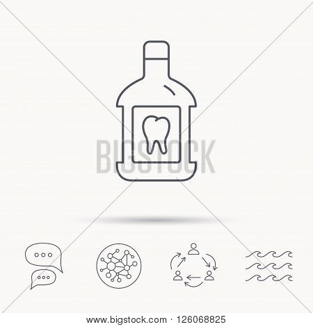 Mouthwash icon. Oral antibacterial liquid sign. Global connect network, ocean wave and chat dialog icons. Teamwork symbol.