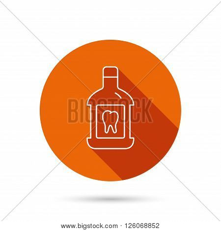 Mouthwash icon. Oral antibacterial liquid sign. Round orange web button with shadow.
