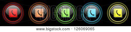 phonebook colored web icons set on black background
