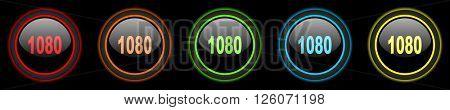 1080 colored web icons set on black background