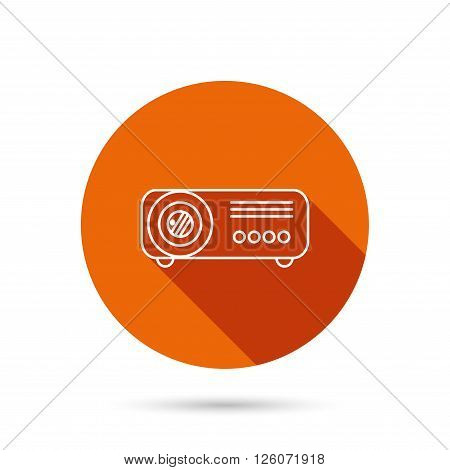 Projector icon. Video presentation device sign. Business office conference tool symbol. Round orange web button with shadow.
