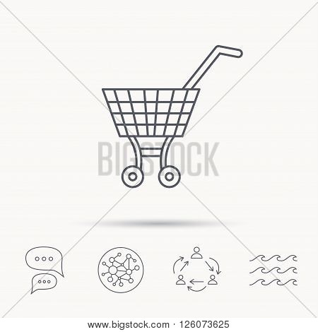 Shopping cart icon. Market buying sign. Global connect network, ocean wave and chat dialog icons. Teamwork symbol.