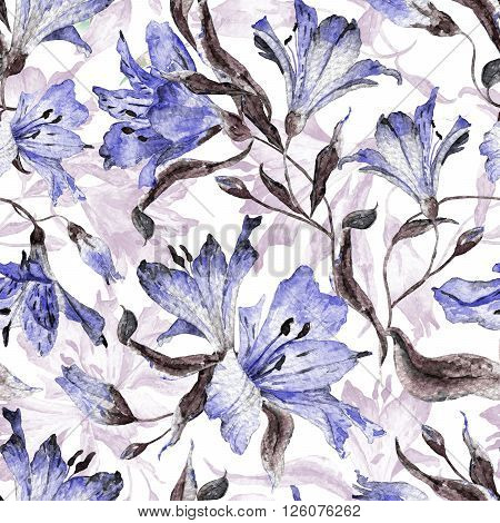 Seamless pattern with blue  lilies. Watercolor flowers. Spring and summer motifs. Can be used for wrapping paper and any your design.