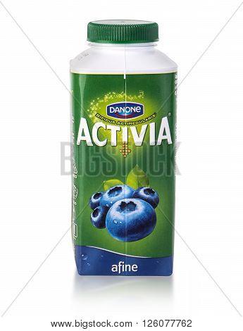 CHISINAU MOLDOVA - March 25 2016. Danone Atctivia Natur. Activia is the only probiotic yogurt product made with probiotic culture bifidus regularis designed to improve digestive health.
