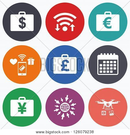 Wifi, mobile payments and drones icons. Businessman case icons. Cash money diplomat signs. Dollar, euro and pound symbols. Calendar symbol.