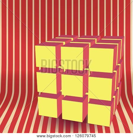 Vector cube block 3D background abstract illustration. Graphic shape digital construction. Business concept geometry. Colors red and yellow.