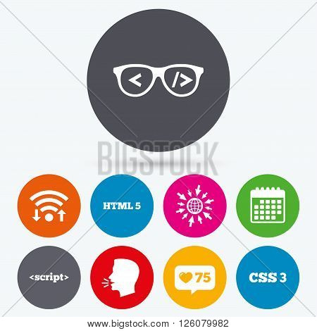 Wifi, like counter and calendar icons. Programmer coder glasses icon. HTML5 markup language and CSS3 cascading style sheets sign symbols. Human talk, go to web.