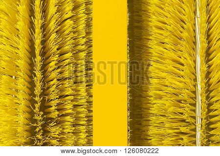 Brushes of cleaning oil spill machine, equipment for collecting spilled petroleum from water surface, oil skimmer, environmental pollution, selective focus, abstraction