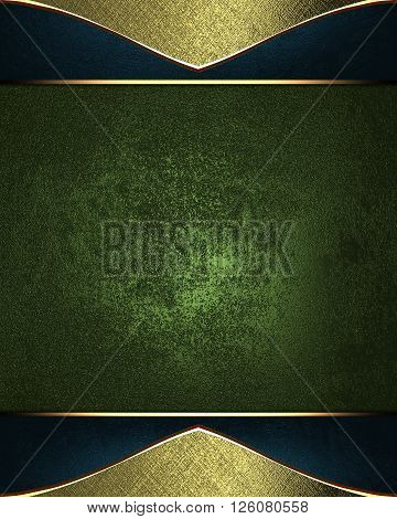Grunge Green Label With Golden Frame. Template For Design. Copy Space For Ad Brochure Or Announcemen