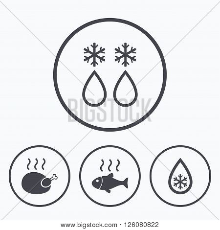 Defrosting drop and snowflake icons. Hot fish and chicken signs. From ice to water symbol. Icons in circles.