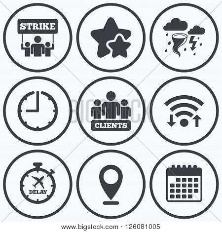 Clock, wifi and stars icons. Strike icon. Storm bad weather and group of people signs. Delayed flight symbol. Calendar symbol.