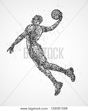 Abstract basketball player in jump from the black circles. Photo illustration.