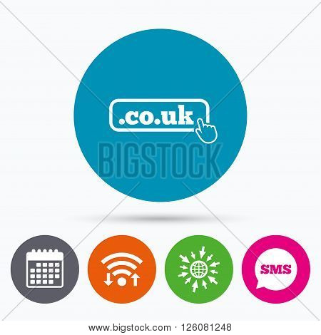 Wifi, Sms and calendar icons. Domain CO.UK sign icon. UK internet subdomain symbol with hand pointer. Go to web globe.