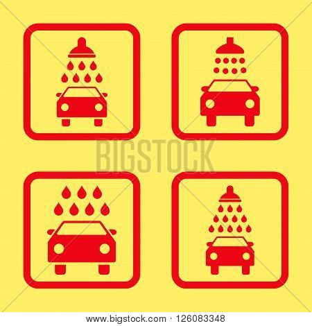 Carwash vector icon. Image style is a flat icon symbol inside a square rounded frame, red color, yellow background.