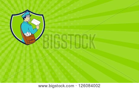 Business card showing illustration of a mailman postman delivering a letter looking to the side viewed from rear set inside shield crest on isolated background done in cartoon style.