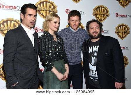 LOS ANGELES - APR 12:  Colin Farrell, Alison Sudol, Eddie Redmayne & Dan Gogler arrives to CinemaCon 2016: Warner Bros