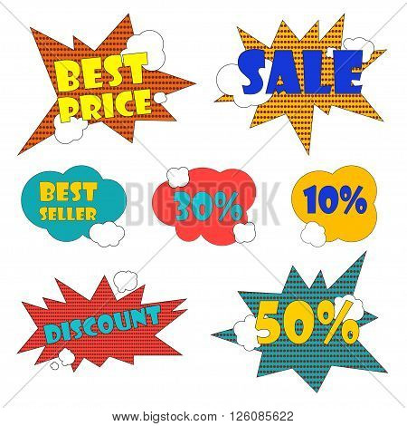 Set of stickers stock and sales in shops. Badges Bestseller Set of badges for promotions in stores Set of stickers stock and sales in shops Badge Bestseller, bagde best price, badge discounts, badges 50%, 30%, 10% in pop art style Vector illustration