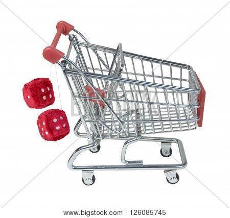 Shopping Cart with Fuzzy Dice Hanging from Handle - path included