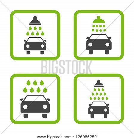 Carwash vector bicolor icon. Image style is a flat icon symbol inside a square rounded frame, eco green and gray colors, white background.