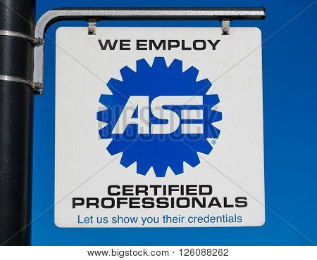 Automotive Service Excellence Sign And Logo