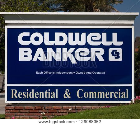 ARCADIA CA/USA - APRIL 16 2016: Coldwell Banker real estate office sign and logo. Coldwell Banker Real Estate LLC is an American real estate franchise.