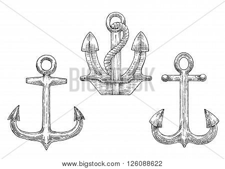 Sketched navy ship anchors symbols with stockless and admiralty anchors, decorated by twisted rope. Great for tattoo, naval heraldry or marine travel design