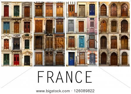 A collage of 4 different places in France presented in a white border with name Europe