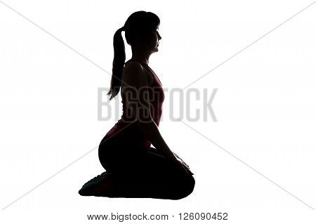 Silhouette of woman, squatting on white background