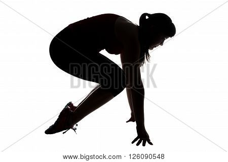 Silhouette of sporty woman on hands on white background