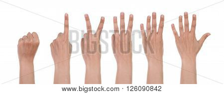 Hands Show The Number One Isolated On White
