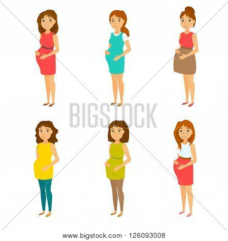 Pregnant fashion set. Pregnant woman clothing. Happy mom expecting baby in dresses. Pregnant model with different hairstyles and clothes. Fashion look for pregnant women. Beautiful mother.