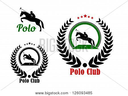 Polo player with rearing up horse and long handled mallet icons for polo club or equestrian sport design, framed by laurel wreath with stars on the top part and caption Polo Club below