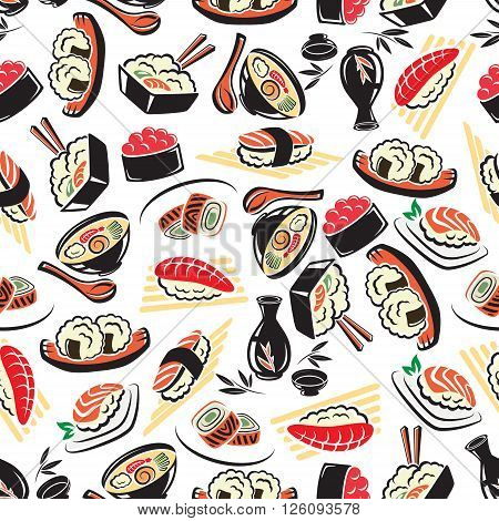 Authentic japanese cuisine seamless pattern on white background with seafood rice, sushi rolls with avocado and red caviar, tuna and salmon nigiri sushi, noodle soup and sake. Restaurant menu flyleaf, healthy food, asian culture theme design