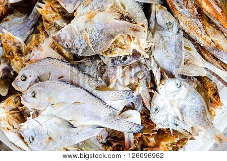 Dried fish on the table. Salty dry river fish