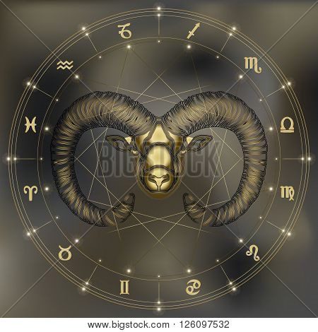 Golden Ram zodiac Aries sign for astrological predestination and horoscope poster