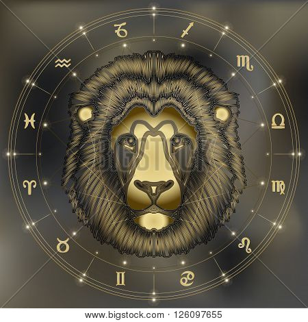 Golden lion head zodiac Leo sign for astrological predestination and horoscope