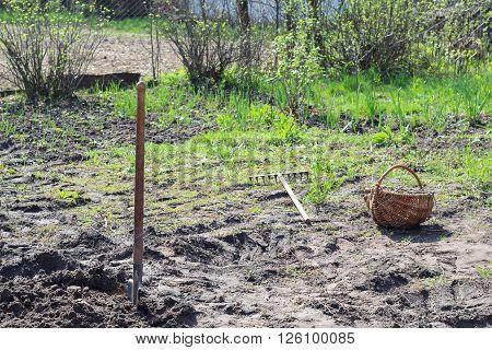 Shovel Dug in the ground garden. Manual Labor.