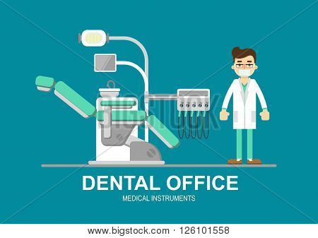 Detal clinic concept. Dental equipment. Tooth care. Dental care concept. Vector dental chair isolated. Dental office banner with modern dental chair and other accessories used by dentists. Dentistry isolated vector illustration. Dental tools.