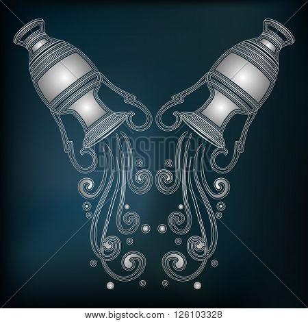Silver amphora with falling water zodiac Aquarius sign for astrological predestination and horoscope