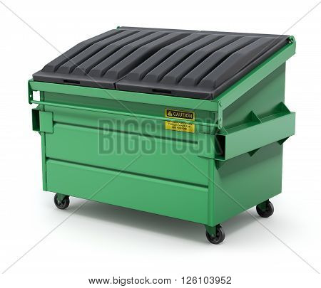 Green trash container or recycle dumpster on white background - 3D illustration