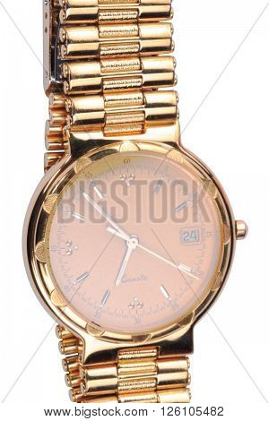 image of one gold plated watches isolated