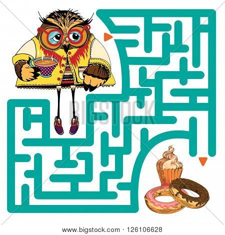 Funny labyrinth. Help the Owl get to baking and get out of the maze. Funny cartoon character. Vector Rebus. Isolated on white background. Eps 8